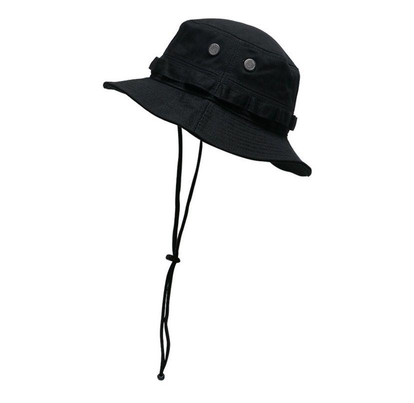 Antivento a corda dell'esercito Camouflage Fisherman Secchio Cappello per Le Donne Uomo Pesca Cappuccio piatto BAB BOB Panama Summer Fashion Designer Coreano Cappello da sole Hip Hop