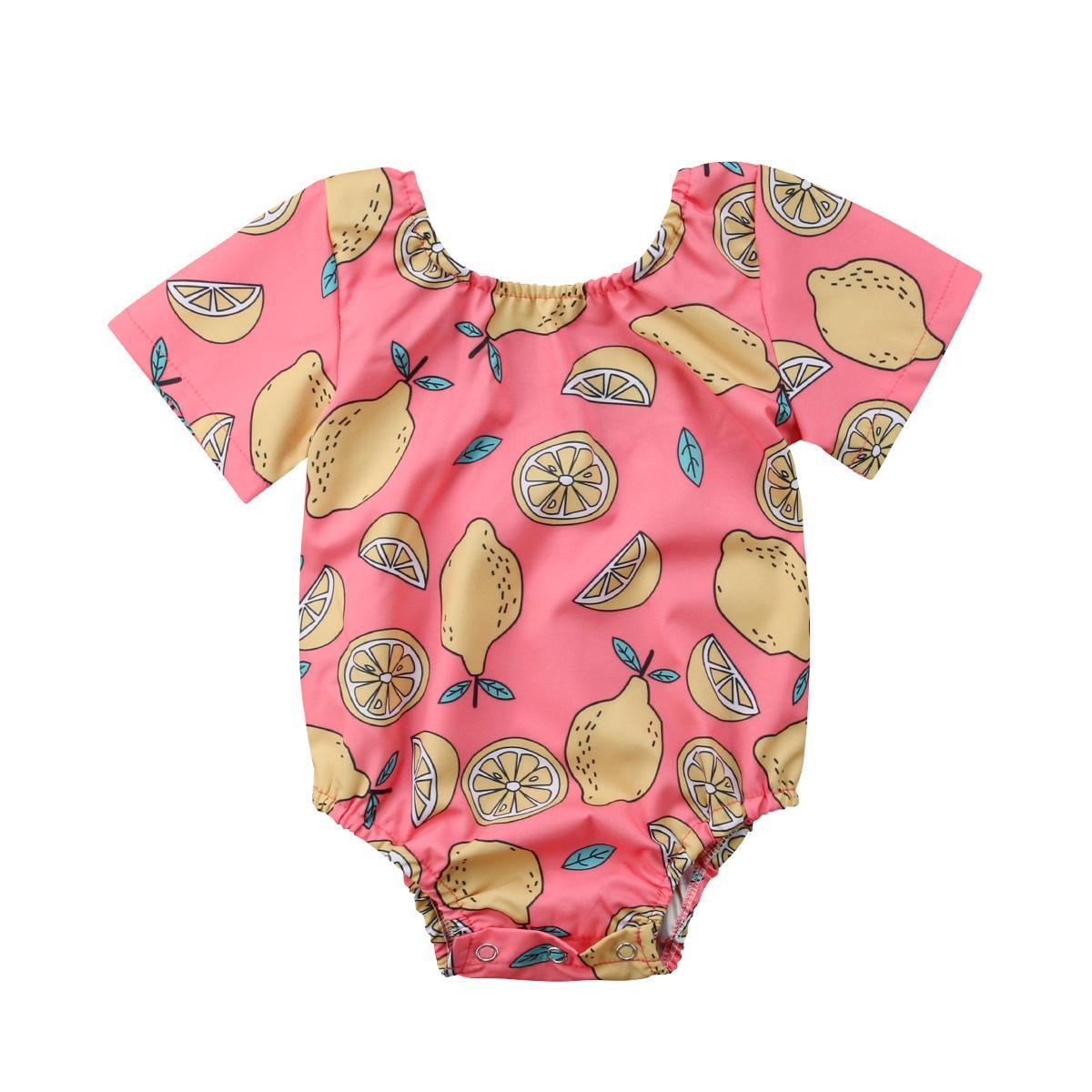 2018 infante appena nato neonate maniche corte giallo limone rosa della tuta della tuta dei vestiti Outfits estate casuale