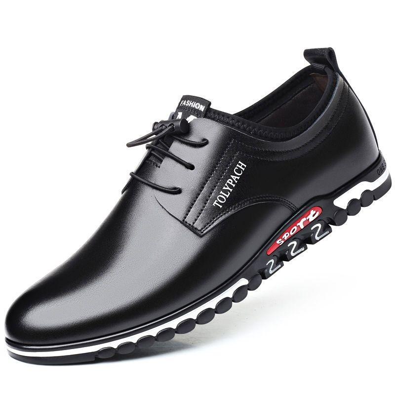 2019 couro genuíno sapatos dos homens de Nova Homens Deslizamento-na confortável negócio que trabalha Trending Loafers homem ocasional Viagem Escritório Shoes