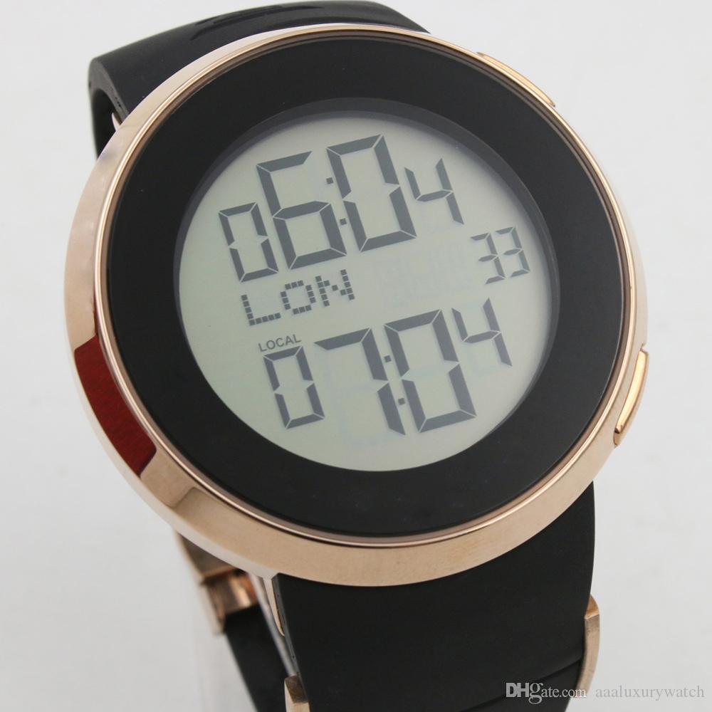 Venta caliente para hombre de pulsera de la batería del reloj Negro Digital LCD Digital masculino 114207 de Stainess de la caja de plata de goma Negro relojes de la correa