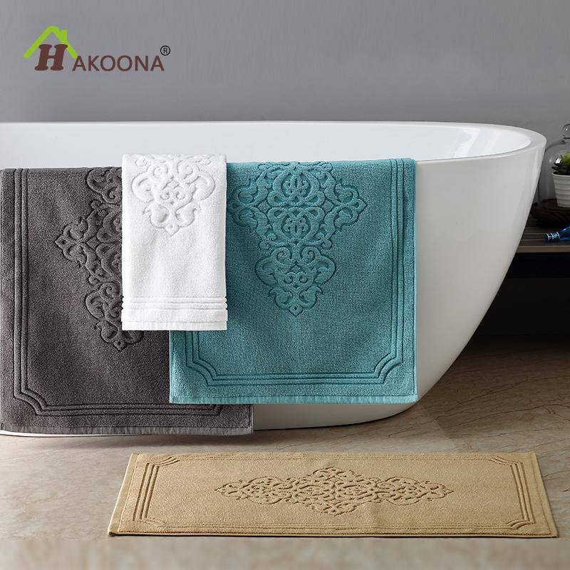 HAKOONA Lxuray Hotel Bathroom Foot Towel Door Bathmat Machine Washable 50x80cmx400grams 3 pieces Hand Towels 30x50cm