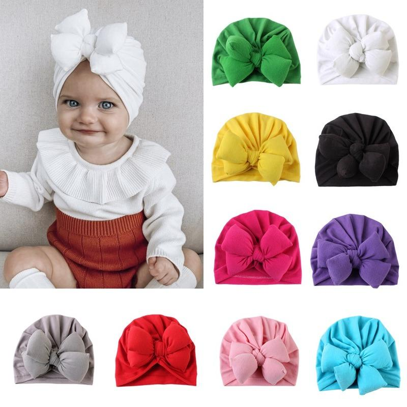 2020 New Arrival Cute Infant Baby Knot Indian Turban Colorful Baby Donut Hat Solid Color Cotton Hairban for Kids Toddler Children Headdress