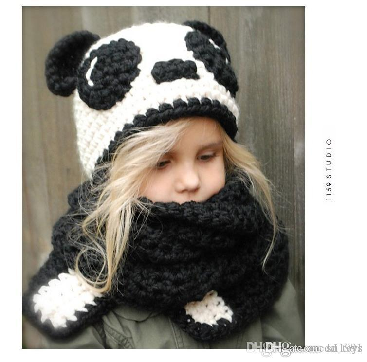 Hot Sale Spring Autumn Winter Baby Boys Girls panda Hats Warm Baby Caps for Girls and Boys Hat and Scarf suit