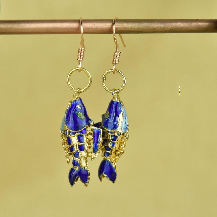 Ultime Cloisonne dello smalto Koi Fish donne degli orecchini dell'orecchio di fascino ciondola ornamenti accessorio Handmade Jewelry cinesi etnici goccia dell'orecchio Mestieri animali