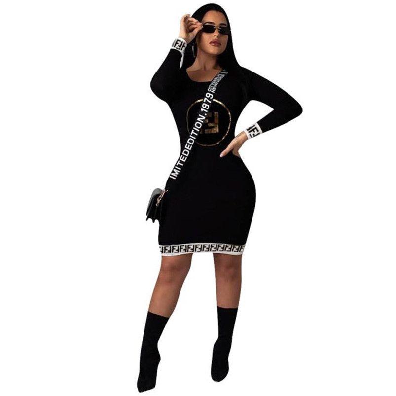 Women letter print brand Dresses scoop neck long sleeve mini skirts designer summer fall clothing fashion bodycon dress new style 1069