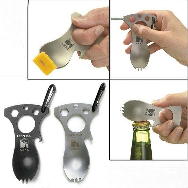 Pocket Spoon Fork Wrench Bottle Opener Carabiner Kit Outdoor Camping Hiking Tool