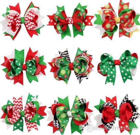 43 цветов детские волосы бант клипы Рождество grosgrain ленты Луки с зажимом, девочка вертушка снег Рождество заколки Шпилька аксессуары