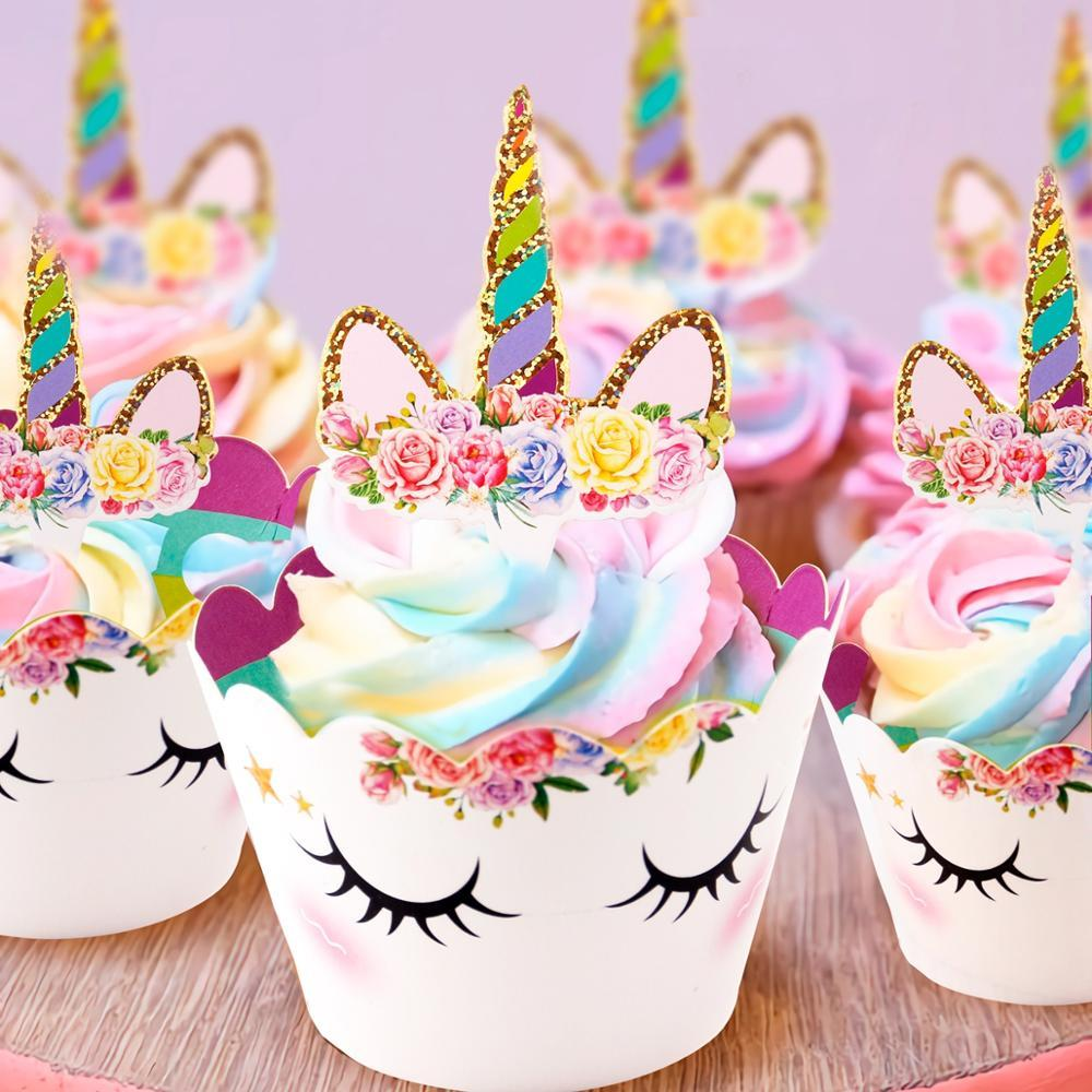 heap Decorating Supplies Rainbow Cupcake Wrappers Cake Topper Unicorn Birthday Party Cake Decorations Kids Baby Shower Unicorn Party Su...