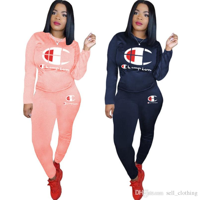 Champions Women tracksuit pullover hoodies with fleece+ pants two pieces set fall winter casual Outfits sports jogging suit clothes 1185