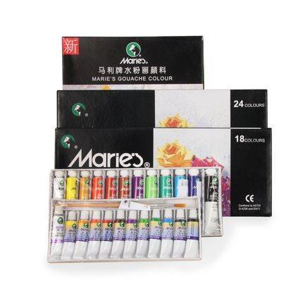 Ücretsiz Kargo Maries 24/18/12 renk kümesi guaj renklerde pigment 5ML kalem öğrenci çocuklar artlam