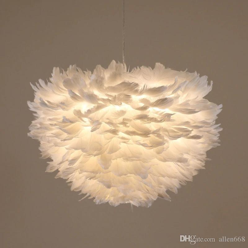 آرت ديكو LED الريشة قلادة الأنوار أبيض / الوردي / رمادي زهرة الإبداعية بلوم مصباح معلق للنوم دراسة غرفة الطعام