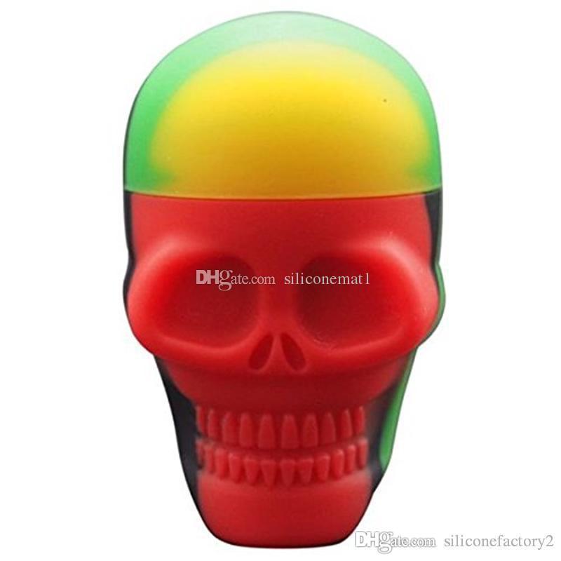 5 шт. / Лот 15 мл контейнеры черепа разных цветов силиконовый контейнер для мазков Силиконовые контейнеры круглой формы воск силиконовые банки Dab контейнеры