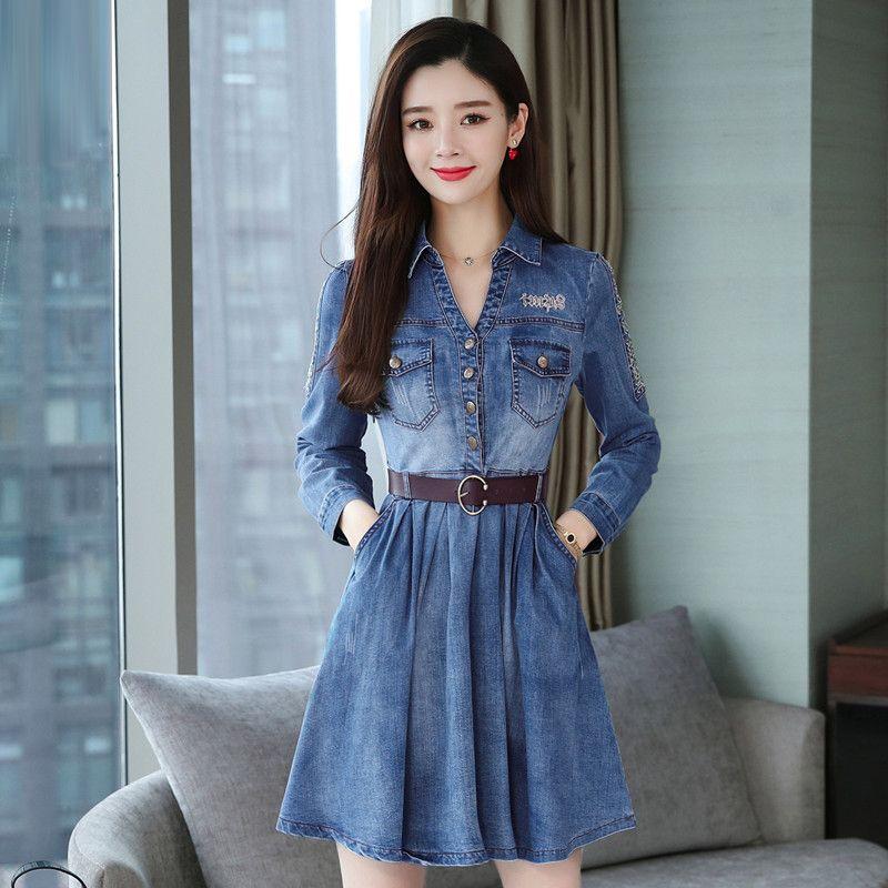 Compre Vestido Azul De Mujer Jeans Mujer 2019 Moda Casual High Street Manga Larga Denim Una Línea De Vestido Plisado Con Cinturón Vestidos Elegantes A