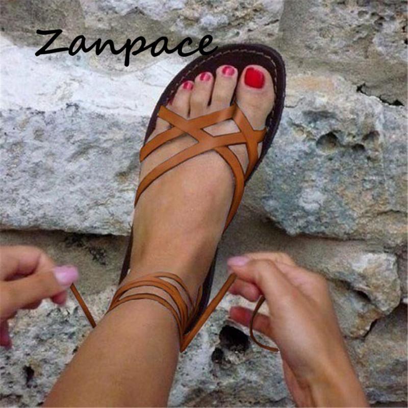 Новый 2020 Гладиатор Повседневная обувь лета Большой размер 43 Плоский Lace-Up Пляж Удобные сандалии женщин MX200407