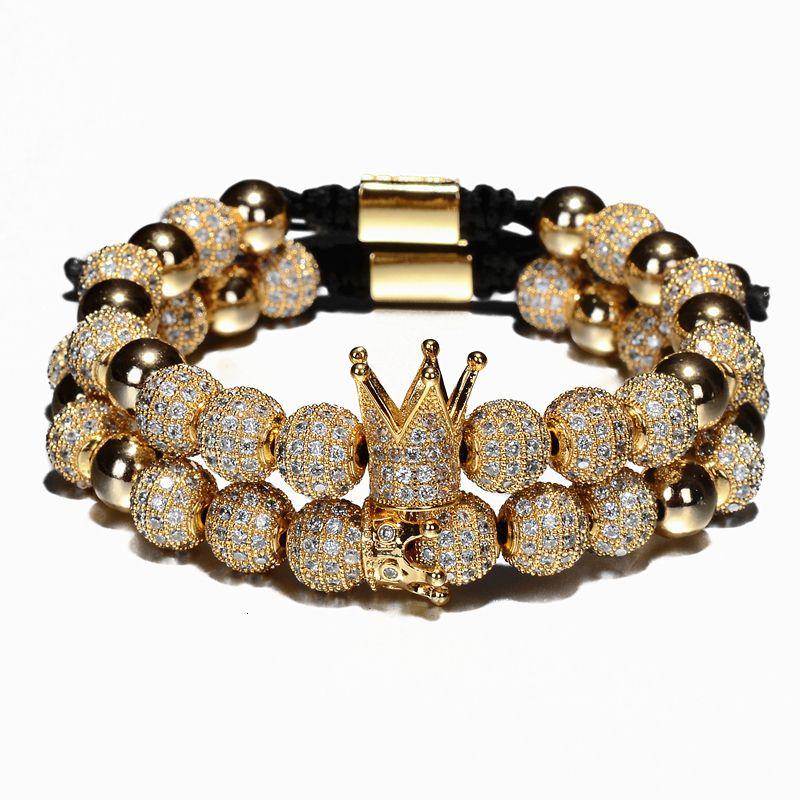 2pcs / set de lujo de la corona del encanto de los hombres pulseras de 8 mm Micro Pave CZ redonda pulsera trenzada Macrame Pulseira Femenina joyería hecha a mano regalo de las mujeres