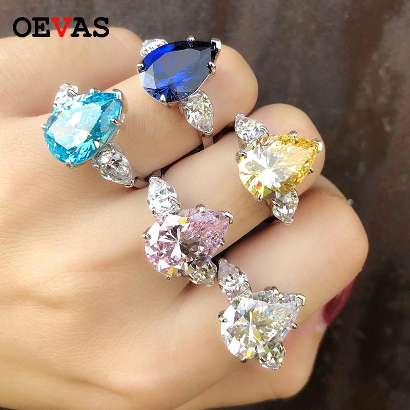 Luxe mousseux Zircon anneaux de mariage pour les femmes de qualité supérieure en argent 925 mousseux coloré goutte d'eau cadeau de bijoux partie CZ