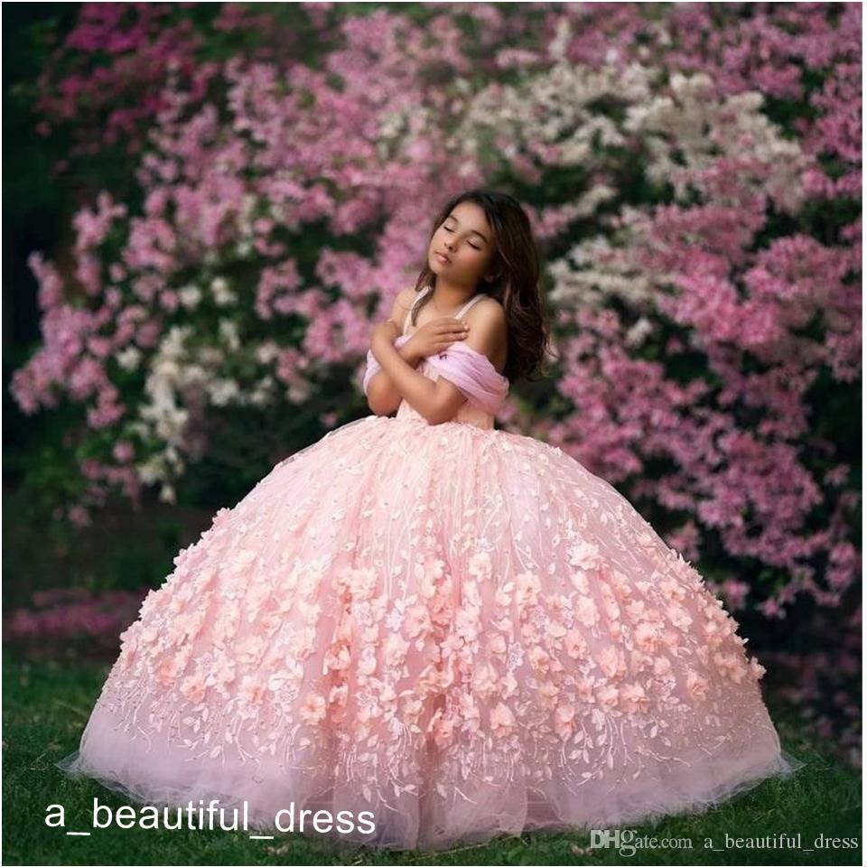 Pink Ball Gown Flower Girl Dresses for Wedding Off Shoulder Lace Beaded Girls Pageant Dress First Communion Gowns Party Wear FG1310