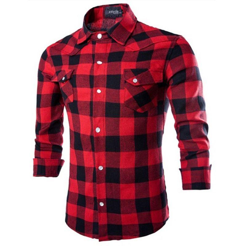 Zogaa% 100 Pamuk Erkek Ekose Gömlek Slim Fit İlkbahar Sonbahar Erkek Marka Casual Uzun kollu Gömlek Yumuşak Rahat Artı boyutu S-4XL