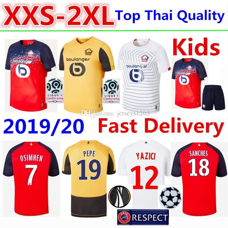 LOSC Lille Soccer Jersey Tshirt 2019/20 OSIMHEN Home Football Shirt BAMBA T-shirt R. SANCHES Adult Kids Kits Shirts Camisa Camiseta Maillot