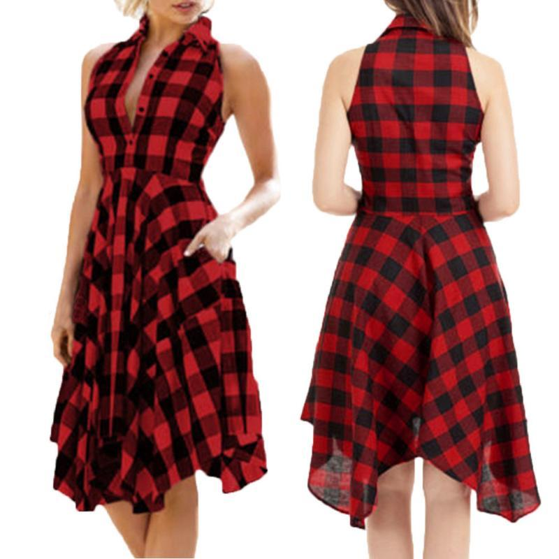 Kleid Frauen Vestidos Sexy Kleid Fiesta Vintage Bodycon Plaid Sleeveless Reißverschluss Unregelmäßiger Saum Abendparty Vestido N1