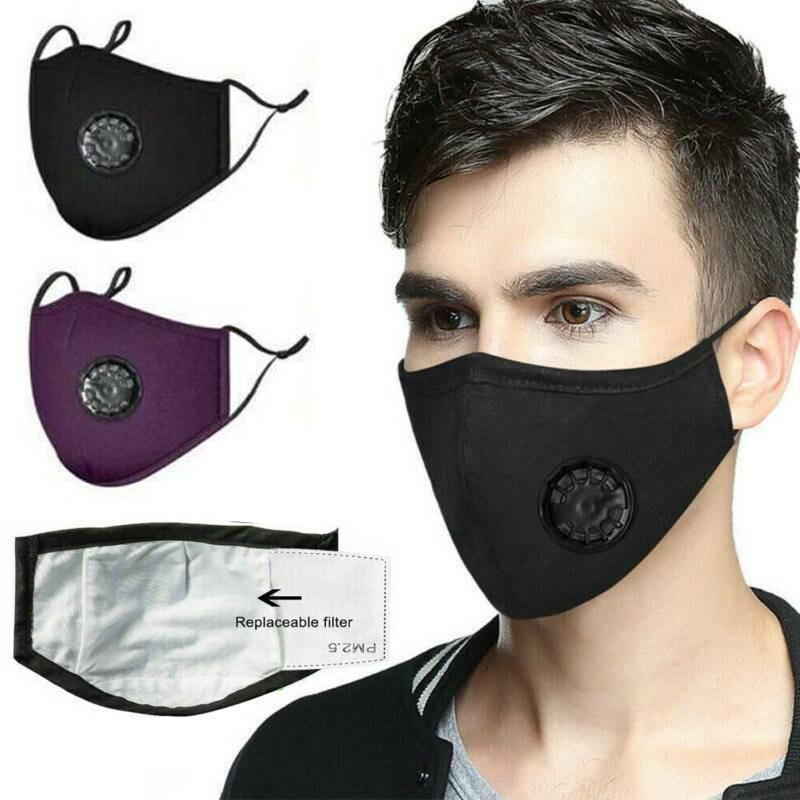 ¡En stock! Máscaras de la moda unisex algodón de la cara de la válvula con la respiración boca PM2.5 máscara de la máscara de tela anti-polvo reutilizable