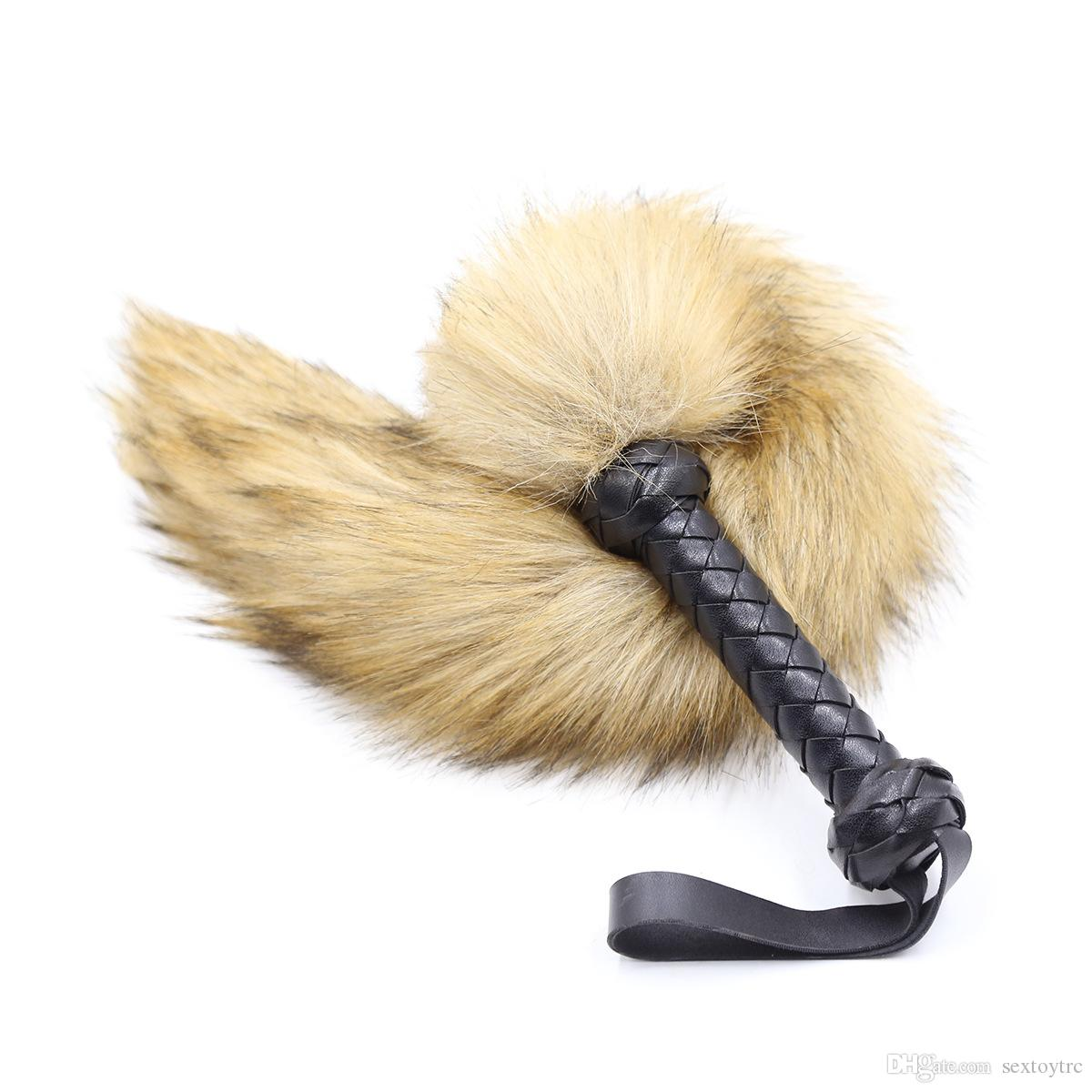 New Design Leather Fur Whip Erotic Sex Toy for BDSM Play Flogger Paddle with Hair Tail Grey Black Yellow Color Sexual Game Equipment