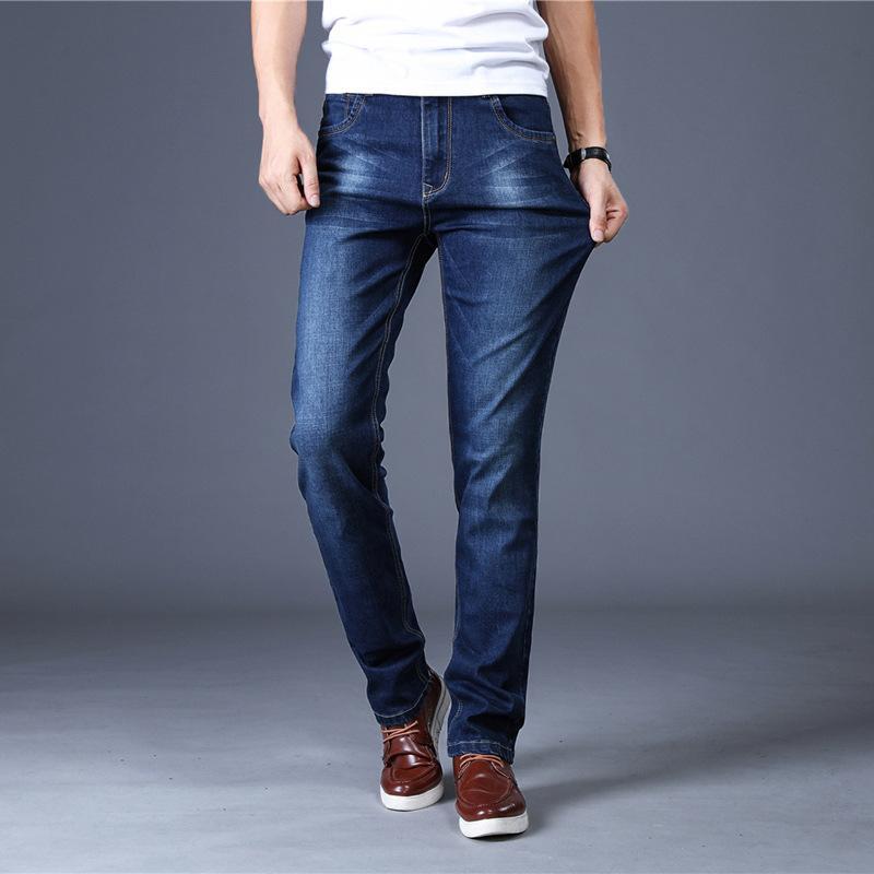 2019 새로운 남성 패션 청바지 비즈니스 캐주얼 스트레치 슬림 청바지 클래식 바지 데님 바지 네이비 블루 블랙 2 색상 선택