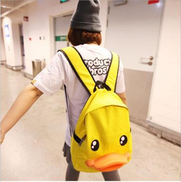 Harujuku personality Duck shoulder bag Cute Fashion Backpack Canvas schoolbag for Teenager Mori girl animal design backpack