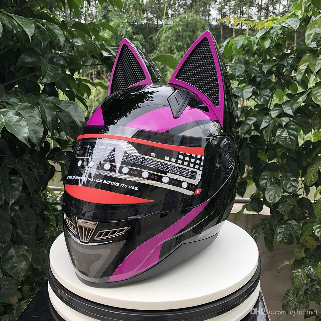 NITRINOS Brand 006 motorcycle helmet full face with cat ears four season yellow color