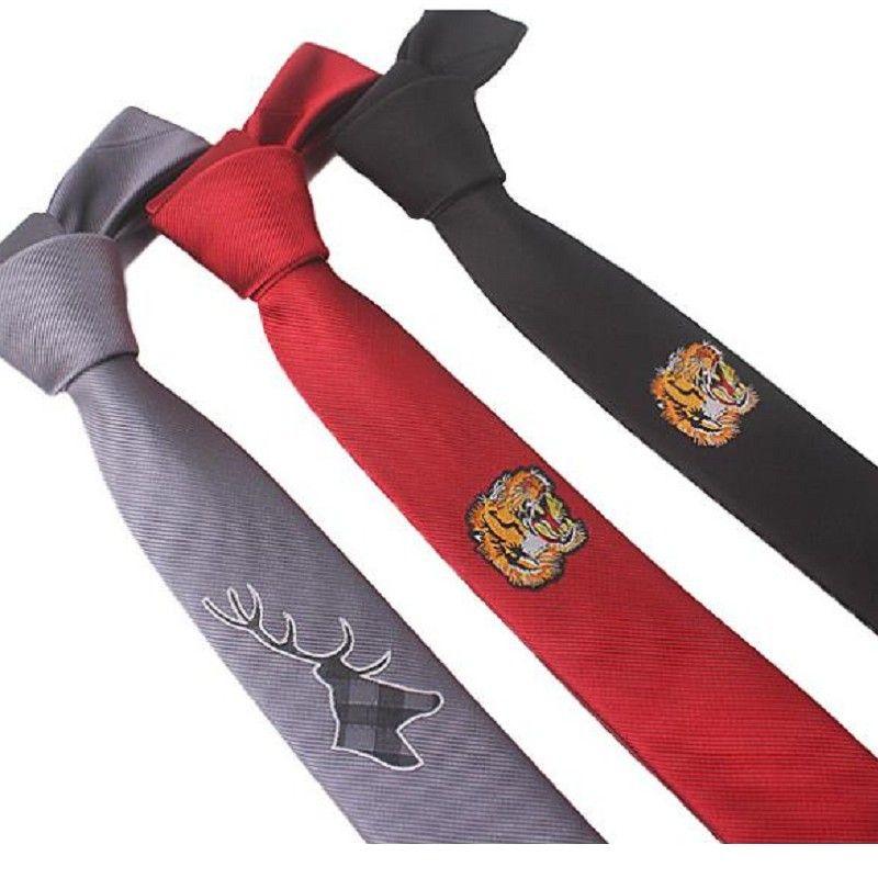 Вышивка галстук узкий стиль цветок тигр 5см личность тощий тонкий галстук досуг красные черные галстуки цветочные животные
