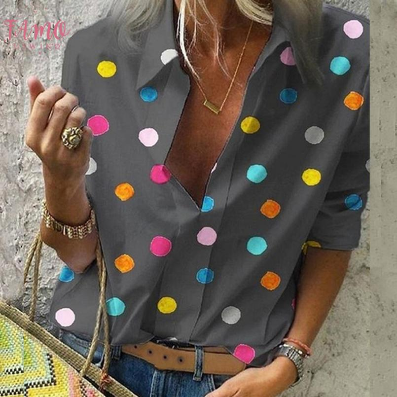 Bohême Dot Imprimer Chemisier femme Pull Blusas Tops Automne 2020 Casual Ladies Shirt Femme Taille Plus Chemisier 5XL régulier Chemise hawaïenne