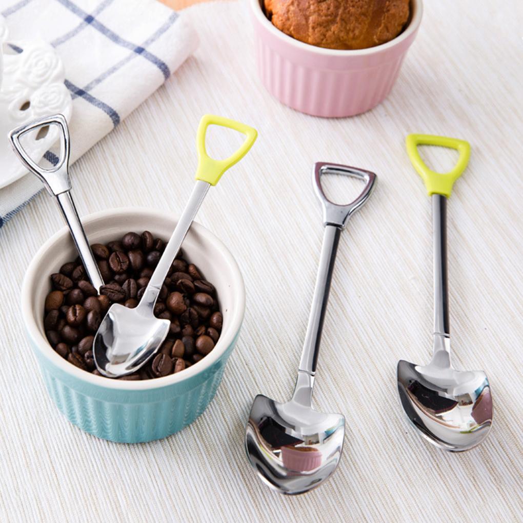 Kaşık Yeni Paslanmaz Çelik Kürek Şekli Çay Kahve Şeker Kaşık Dondurma Tatlı Kaşık Kaşık Ev Bahçe