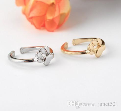 Open Rings Cute Unisex Pet Dog Foot Print Rings Silver Gold Cartoon Infinite Rings Animal Jewelry Gift Idea