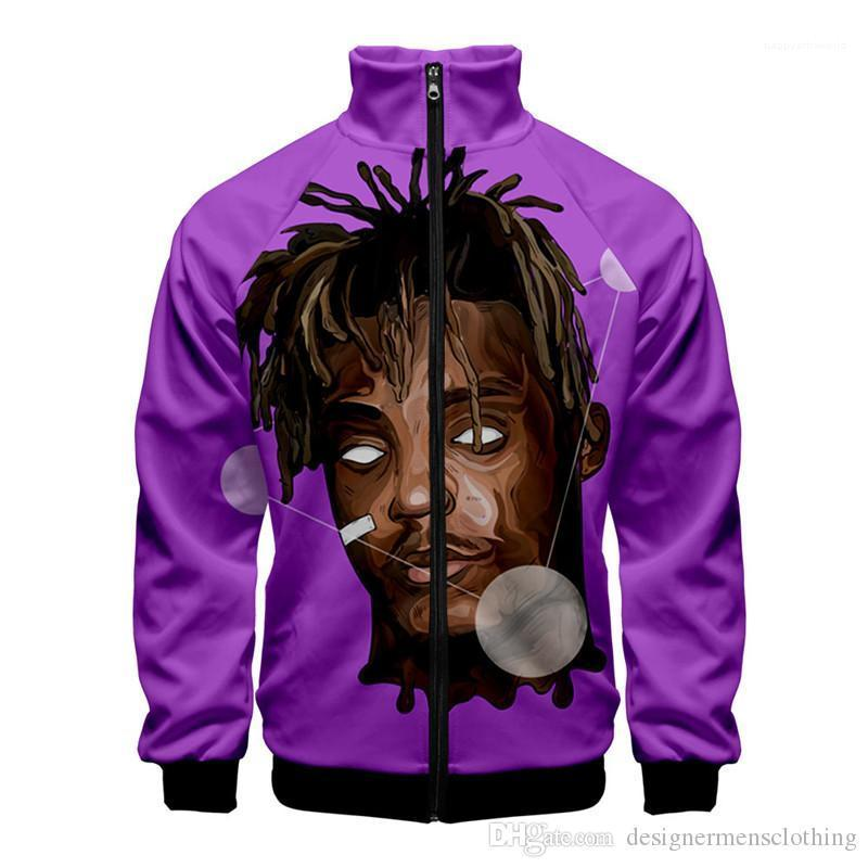 Sleeve Stand Collar Teenager Hiphop Hoodies Rapper Fashion Male Clothing Juice Wrld Designer Cardigan Hoodies Long