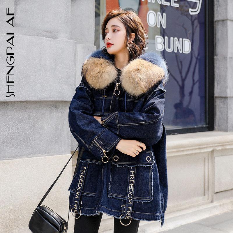 Manga SHENGPALAE Nueva Otoño Invierno Japón Corea mujeres del estilo completo Cremalleras de talle alto con capucha gruesa Loose Fur Coat FR261