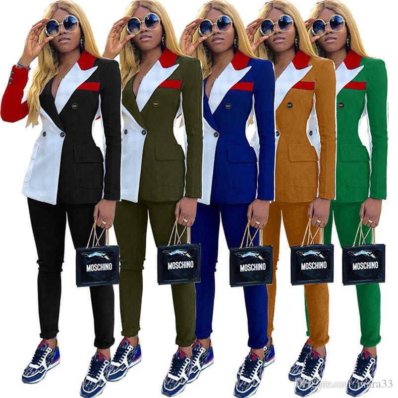 Kadınlar artı boyutu 2 parçalı set iş takım elbise seksi kulüp Hırka Ceket pantolon spor eşofman tozluk kıyafetler dış giyim bodysuits 2213