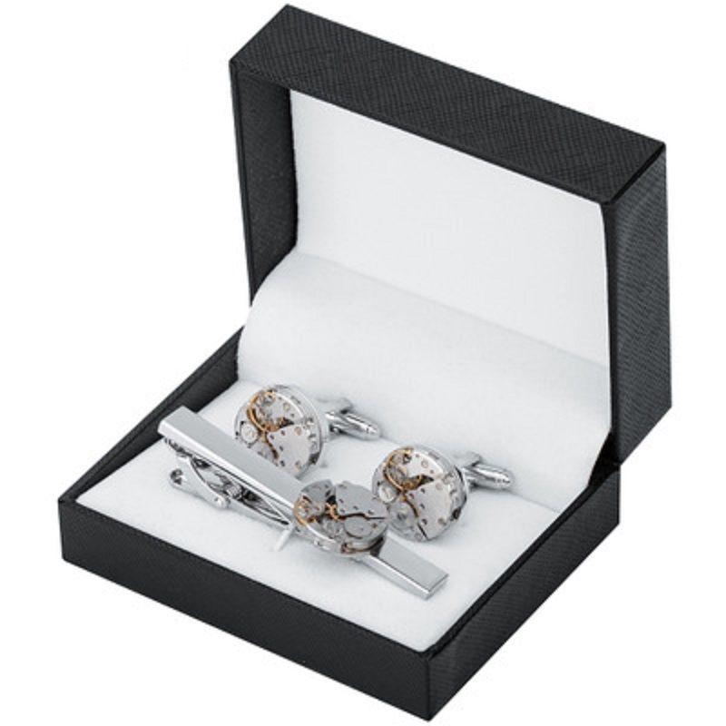Мужские зажимы для галстука запонки наборы стимпанк Gear Watch Mechanism нефункциональная французская запонка для мужчин ювелирные изделия рубашка запонки с подарочной коробкой