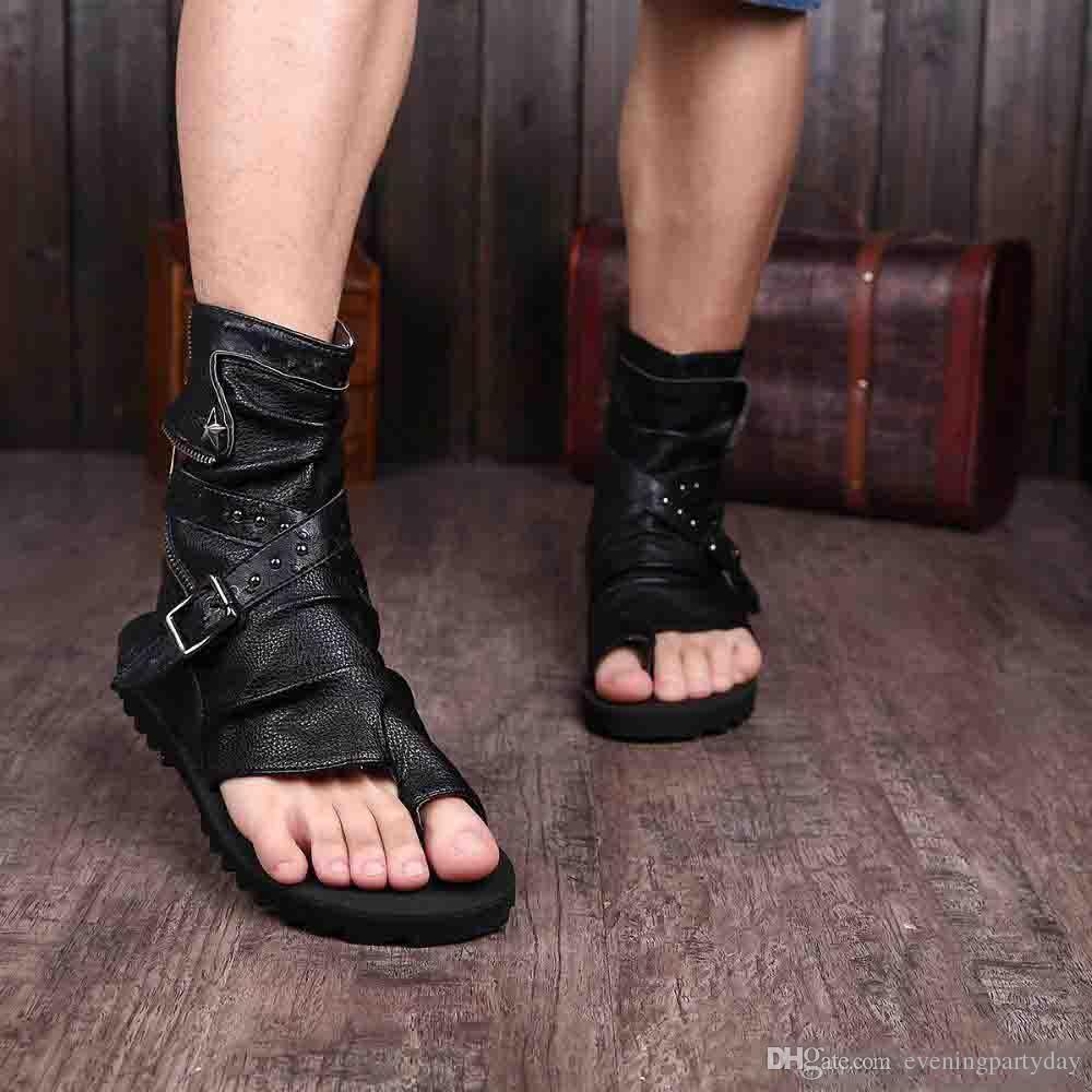 صنادل المصارع للرجال أسود أبيض الكاحل جلد الرجال الشقق الأحذية الإيطالية الصنادل رجالي النعال