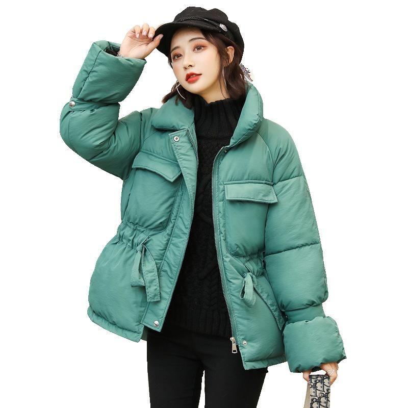 Куртка женщин куртки Женщина Parka зима Короткие поколения талии Новый Большой Карман Женский Свободное пальто пуховик