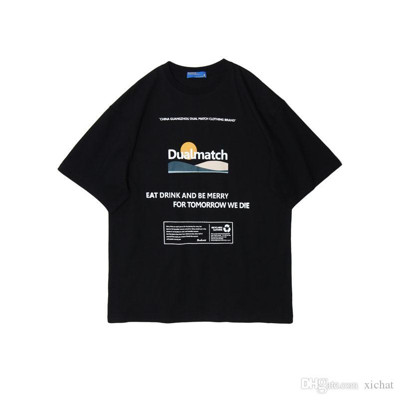 Yaz Erkek Tasarımcı T Gömlek 2020 Moda Harajuku Baskılı Beyaz Siyah Kısa Kollu Streetwear Pamuk Büyük boy DMT66 Tops