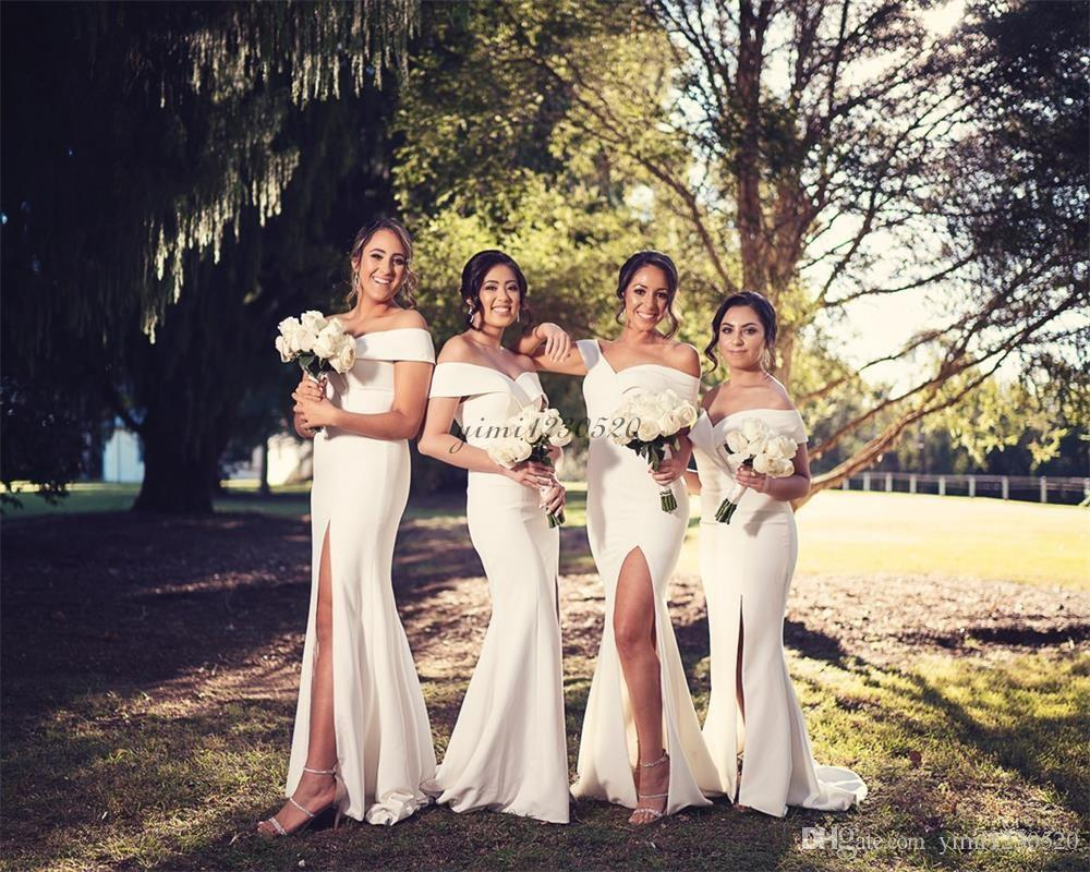 Side Split Mermaid Bridesmaid Dresses Off Shoulder Sweep Train Garden Country Simple Wedding Guest Gowns Maid of Honor Dress Cheap