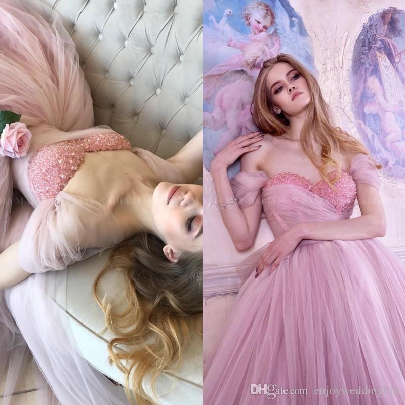 Vintage des années 1950 blush rose robe de bal robe de bal robes 2020 élégant épaule hors épaule thé longueur robes de soirée robe de soirée courte perlé