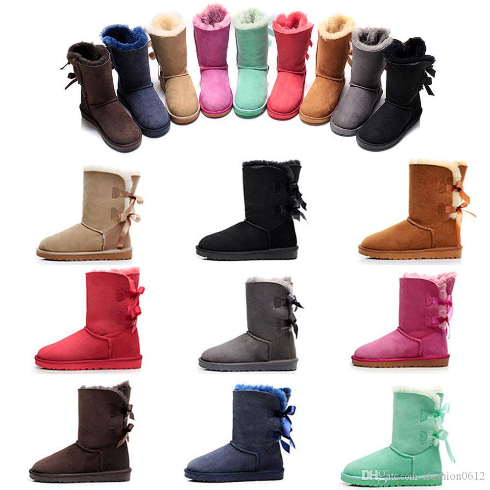 Designer Hommes Femmes d'hiver Bottes de neige Mode Australie Classic bottes courtes cheville genou Bow fille MINI Bailey Boot TAILLE 35-45 navire libre