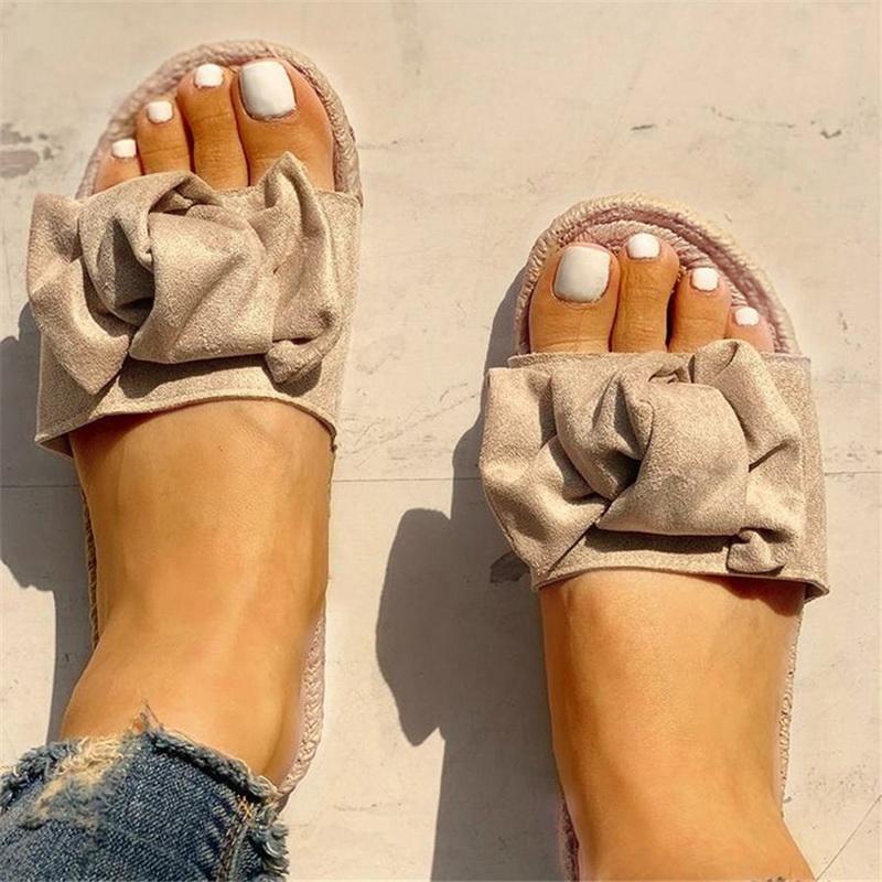 Verão Mulheres Chinelos Bow Verão Sandals linho -flops Praia Calçados Femininos Feminino Plano Sandálias Indoor Outdoor Drop Shipping