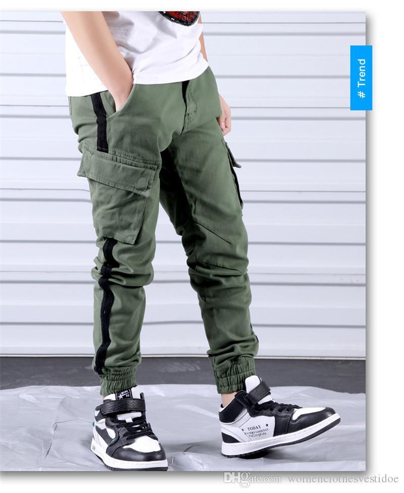 Designer Kid Carga Pants Moda cor sólida calças soltas calça casual mens ativos