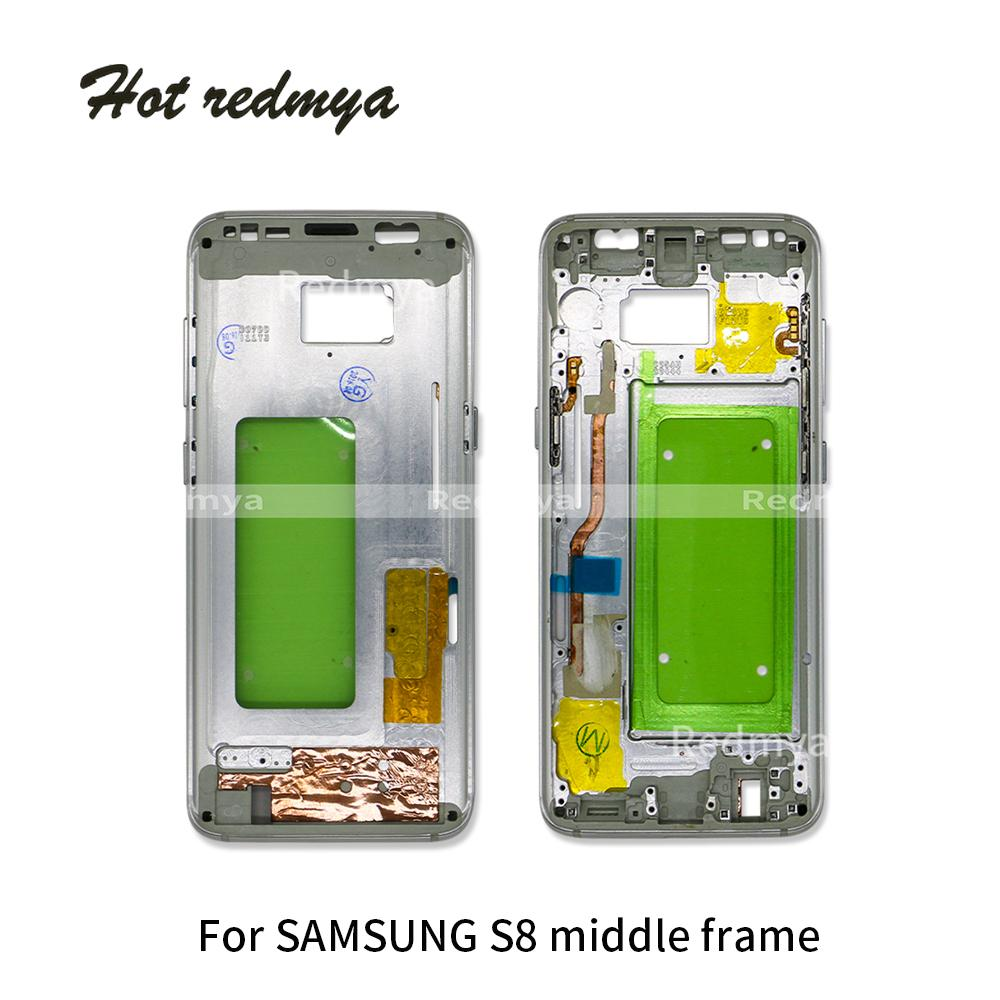 5 stücke mittleren rahmen für samsung galaxy s8 g950 g950f mitte lünette metallrahmen gehäuse chassis mit teile ersatz + seitentaste