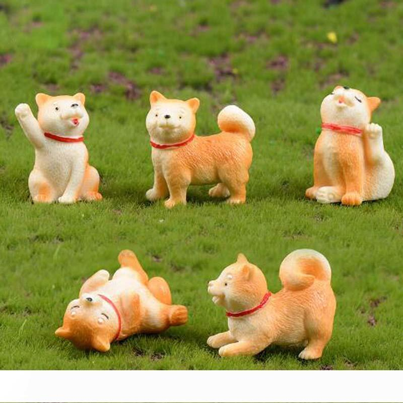 Animal Micro-landscape Figures Decorations Little Yellow Dog Miniature Akita Dog Toy Garden Bonsai Cactus Succulent furnitures