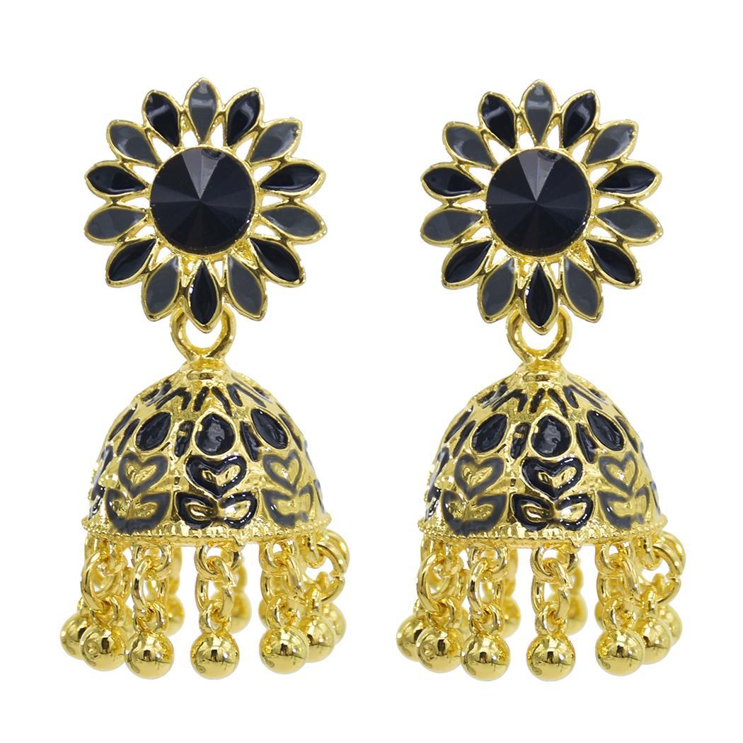 Jhumka orecchini indiani per monili delle donne del metallo dell'oro Girasole Campane di Cristallo nappa Orecchini partito regalo