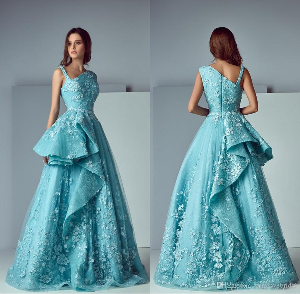 Asimetría Volantes Falda de encaje Vestidos de fiesta de baile Modesta Apliques Mancha Dubai Vestidos para ocasiones árabes Vestidos de noche
