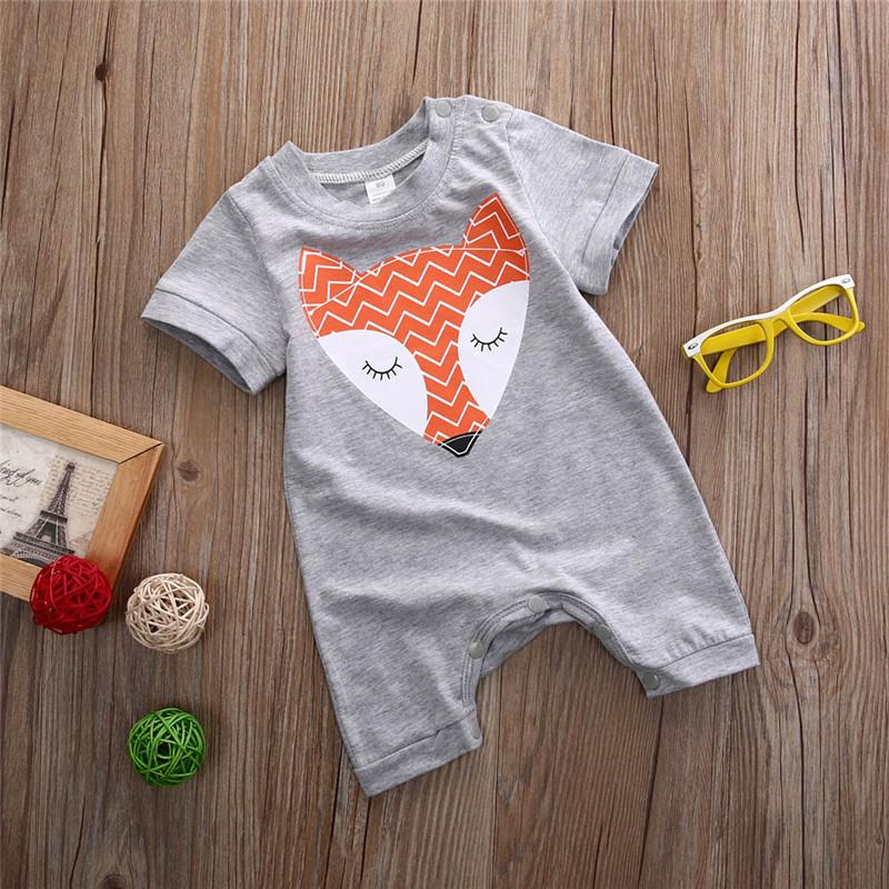 Baby Boys Girls Orange Fox Design Velour Babygrow All In One Romper Outfit
